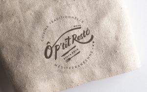 フランスのレストラン O P'tit Resto ロゴデザイン